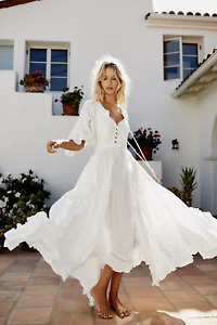 Free People Endless Summer Beach Bliss Maxi Dress Size Small in White