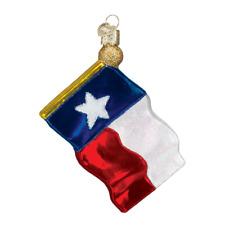 """Texas State Flag"" (36045)X Old World Christmas Glass Ornament w/ OWC Box"