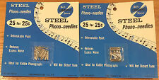 Vintage NOS Lebo Inc. Steel Phono-Needles NE-99 2 Pack Lot 50 Kids Record Player
