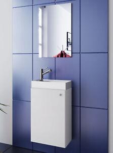 Washing Area White Washbasin With Wardrobe + Mirror Wc Guest Toilet Small Narrow