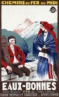 """Vintage Illustrated Travel Poster CANVAS PRINT Eaux-Bonnes France 8""""X 12"""""""