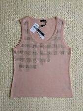 NWT~Magaschoni~Top~Size S~Silk Cashmere Blend~Blush~Gold Studs~Sleeveless~Fitted
