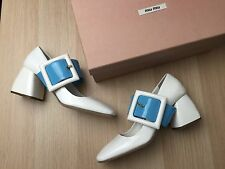 New MIU MIU PRADA White Patent Leather Blue Buckle Shoes Pumps Heels Loafers 36