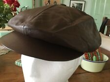 Men's soft leather bakerboy cap.one size brown.