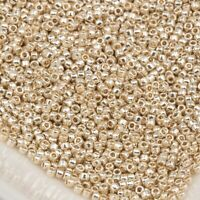 11//0 Round TOHO Glass Seed Beads #1046 Luster Peridot//Opaque White Lined 10g