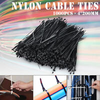 1000PCS 4*200mm Nylon Zip Trim Cord Strap Network Cable Ties Wire  ! O z