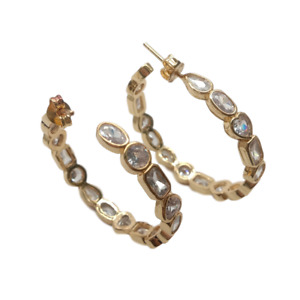 new 32mm Gold color plated Geometric cubic zirconia micro pave hoop earrings