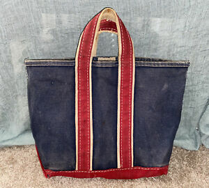 Vintage L.L. Bean Boat and Tote Blue/Red Handles USA