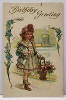 Birthday Greeting Lovely Girl Basket of Flowers Gilded Embossed Postcard G4
