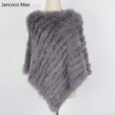 2018 Women Fashion Shawl Genuine Rabbit Fur Poncho Knitted Cape 91071b