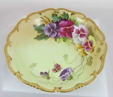 Antique Vienna Porcelain Hand Painted Pansy Flowers Artist Signed Jugl Bowl