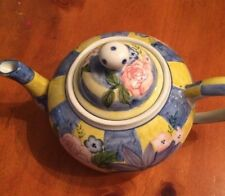 "Andrea by Sadek Vintage Teapot-Floral Checkered-9"" x 6"" SHIPS FREE"