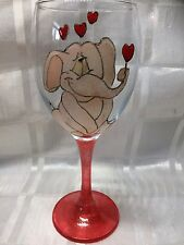 Hand Painted Large Pink Cute Elephant With Red Hearts Washable Wine Glass