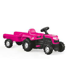 Dolu Kids Childen's Ride On Pink Tractor With Trailer