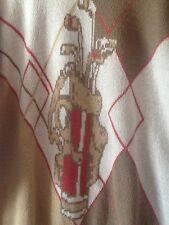 London Fog Golf Sweater Men's Large Vintage Tan Beige Cream Golf Bag Clubs