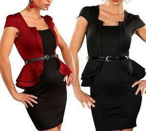 SeXy Miss Damen Business Mini Kleid Schößchen Peplum Dress Gürtel 34 36 38 Neu