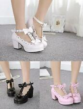 New Fashion Women's Ankel Strappy Lolita  bowknot Sweet Block Heel Cosplay Shoes