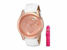 GUESS 2 PC SET ROSE GOLD TONE,WHITE+PINK LEATHER BAND,HEART,WATCH U0528L1