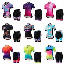 Damen Radsport Trikot Set Kurzarm 5D Gepolsterte Fahrradshorts Kleidung Tops