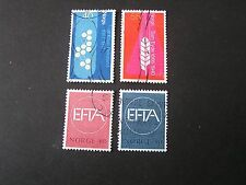 NORWAY, SCOTT # 498/499(2)+500/501(2), 2-COMPLETE SETS 1966-67 EFTA  ISSUE USED