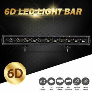 27inch 120W 6D LED Light Bar Single Row Flood Work Driving Offroad Truck ATV SUV