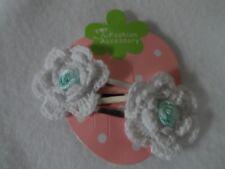 hair clips,girls hair slides snap clips bendies crochet white flower bow rosebud