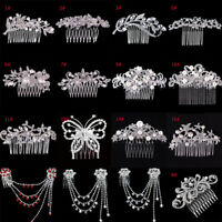 Women Crystal Rhinestone Pearl Hairpin Flower Hair Clips Comb Wedding Jewelry