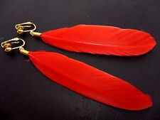 A PAIR OF LONG RED FEATHER  DANGLY CLIP ON EARRINGS.