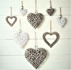 Large Medium Wicker Rattan Bead Hanging Heart Filled Wreath Shabby Chic Vintage