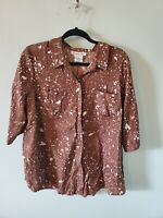 Roaman's Women's Plus Size 16W Brown Splatter Print Polyester Button Front Top