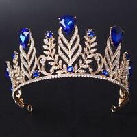 7.5cm High Adult Big Drip Crystal Leaf Tiara Crown Wedding Pageant Prom 4 Colors