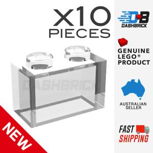 x10 Genuine LEGO® Trans-Clear Brick, 1 x 2 Transparent - Part 3065 - Brand New