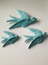 S/3 Flying Wall Birds Hanging Retro Vintage Style Ornament Swallow Ceramic