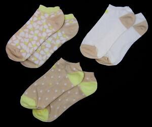 3 PAIR Kate Spade No Show Socks Neutral Beige Yellow Floral Polka Dot Size 4-10