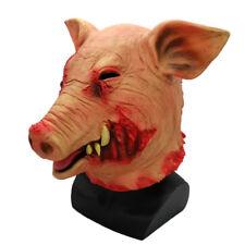 US Horror Mask Halloween Masquerade Pig Head Mask Animal Cosplay Latex Hoods New