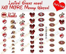San Francisco 49ers Mickey Clear Vinyl PEEL and STICK Nail Decals NOT WATERSLIDE