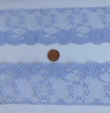 Vintage Lace Trim 2.5 inch Wide 6yds Periwinkle Blue Sewing Dolls Crafts Lot 114