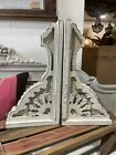 Chunky White Wooden Corbels, Large, Set Of Two, Distressed
