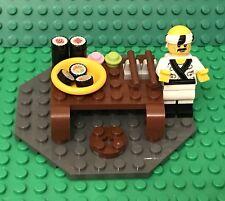 Lego MOC Asian Japanese Style Dinning Table W/ Tuna,Salmon Sushi And Mini Figure