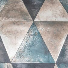 Metallic Blue Silver Geometric Triangle Shiny Vinyl Wallpaper Slightly Imperfect