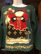 Vintage Heirloom Collectibles 1999 Christmas Sweater Santa Claus Sleigh PS Pet S