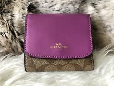 NWT Coach Signature PVC & Crossgrain Leather Small Wallet In Khaki & Purple