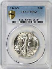 1941-S Walking Liberty Silver Half Dollar 50c PCGS MS65