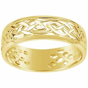 Gents 9K Yellow Gold Dress Ring Traditional Celtic Design Q80