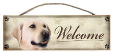 "Yellow Labrador ""Welcome"" Rustic Wall Sign Plaque Gifts Home Ladies Pets Dogs"