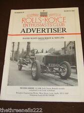ROLLS ROYCE ENTHUSIASTS CLUB ADVERTISER #49 - MARCH 1983 DAVID SCOTT-MONCRIEFF &
