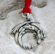 GOTHIC DRAGON ON MOON Pewter Christmas ORNAMENT Holiday