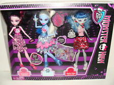 NEW MONSTER HIGH Dot Dead Gorgeous 3 Pack Draculaura Ghoulia Yelps Abbey Doll