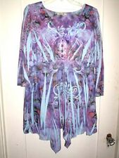 Lovely Stretchy Fold Dyed Top Empire Gathered Purple/Blue 3/4 Sleeve1X New