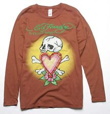 Ed Hardy Skull In Love Rhinestones Long Sleeve Tee (XXL) Chocolate